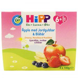 Eko Barnmat Fruktpuré Äpple, Jordgubbar & Blåbär 4 x 100g - 54% rabatt