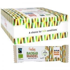 Eko Hel Låda Baobab- Mandelbars 20 x 40g - 50% rabatt