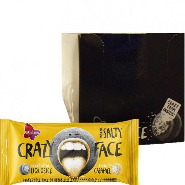 "Hel Låda Godis ""Crazy Face Salty"" 24 x 60g - 75% rabatt"