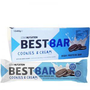 """Hel Låda Proteinbars """"Cookies & Cream"""" 12 x 60g - 39% rabatt"""