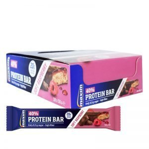 "Hel Låda Proteinbars ""Soft Raspberry"" 18 x 50g - 40% rabatt"