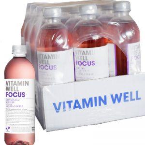 """Hel låda Dryck """"Vitamin Well Focus"""" Svartvinbär 12 x 500ml - 59% rabatt"""