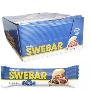 "Hel låda Proteinbars ""Triple Chocolate"" 18 x 50g - 36% rabatt"