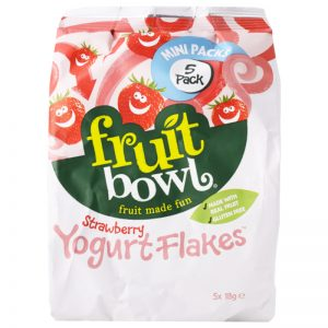"""Fruktsnacks """"Strawberry Yoghurt Flakes"""" 5 x 18g - 48% rabatt"""