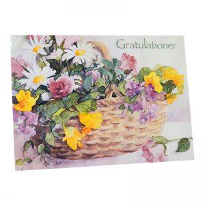 """Gratulationskort Dubbelt """"Blomsterkorg"""" - 97% rabatt"""