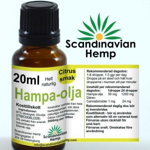 Hampaolja 20 ml citrus, 400mg