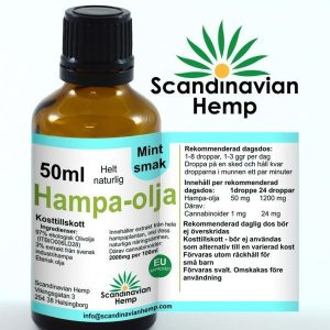 Hampaolja 50 ml mynta smak, 1000mg