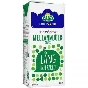 Laktosfri mellanmjölk med lång hållbarhet 1l - 33% rabatt