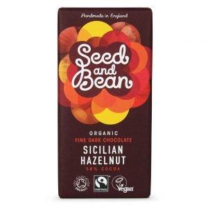 Seed & Bean Fine Dark Chocolate 58% Sicilian Hazelnut Eko - 1 Bar - 85 Gram