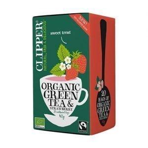 Clipper Grøn Te m. Jordbær Ø - 20 Påse