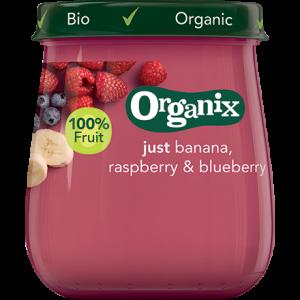 Organix Babymos banan hindbær blåbær Ø fra 6 mdr. - 120 G