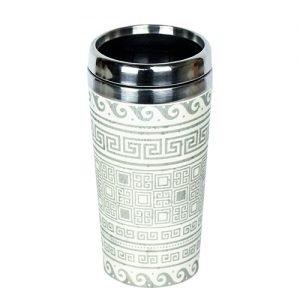 Wood Way Bambus Termo Cup - grå & vit med motiv - 1 Stk