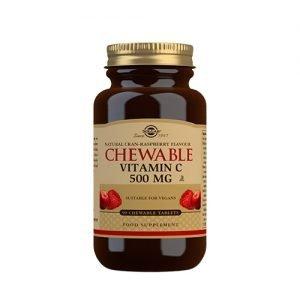 Solgar Vitamin C Tyggetablet Tranebær Hindbær Smag - 90 Tabl