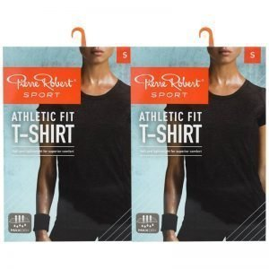 T-shirt Athletic Fit Black Melange Small 2-pack - 70% rabatt