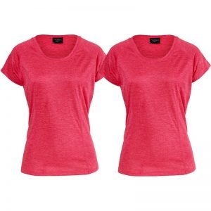 "T-shirt ""Athletic Fit Rouge Melange"" Medium 2-pack - 70% rabatt"
