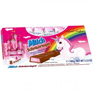 Unicorn mjölkchoklad med jordgubbs-yogurt fyllning 100g