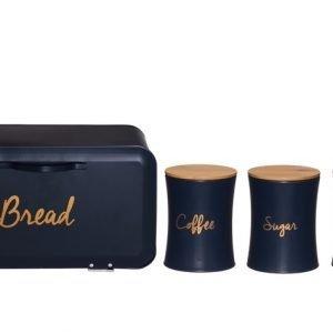 4Living Metal box blue set, 4 delar