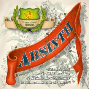 Absintetikett för Absint Classic 41400 90 x 90 mm