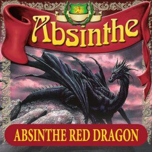 Absintetikett för Absint Red Dragon 90 x 90 mm