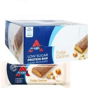 "Hel Låda Proteinbars ""Fudge Caramel"" 16 x 60g - 50% rabatt"