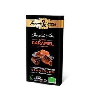 Saveurs & Nature Chokolade Fyldt 70% Havsalt, Ø Karamel - 18 Stk - 80 G