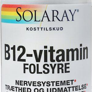 Solaray B12 Vitamin med Folsyre - 90 Sugtabletter
