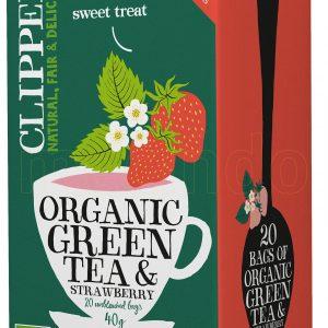 Clipper Grøn Te m. Jordbær Ø - 20 Påsar