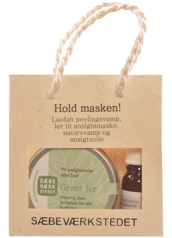 Hold masken gavepose indh. grønt ler, ansigtsolie,natursvamp peeling pad - 1 Paket