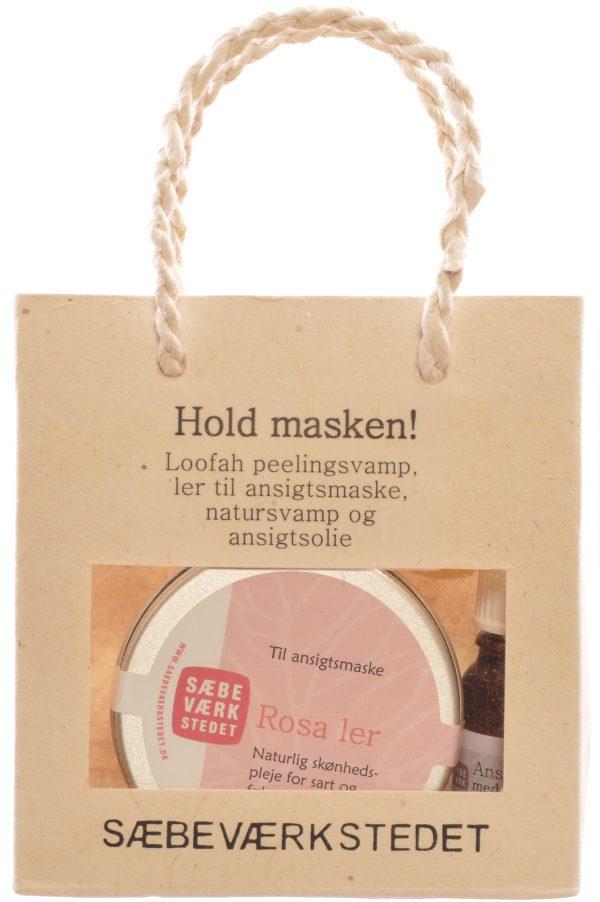 Hold masken gavepose indh. rosa ler, ansigtsolie,natursvamp,peeling pad - 1 Paket